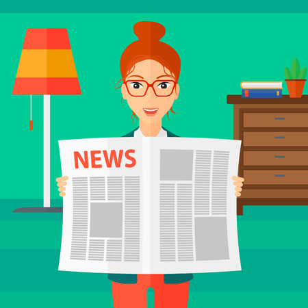 article: A happy reporter reading the newspaper with her article on the backround of room vector flat design illustration. Square layout. Illustration