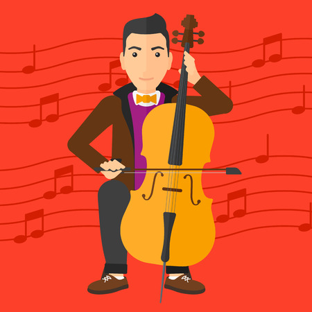 soloist: A man playing cello on a red background with music notes vector flat design illustration. Square layout. Illustration