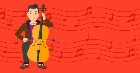cellist: A man playing cello on a red background with music notes vector flat design illustration. Horizontal layout.