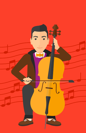 A man playing cello on a red background with music notes vector flat design illustration. Vertical layout.
