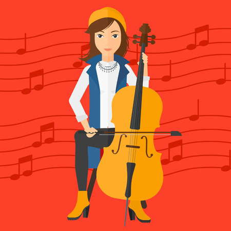 A woman playing cello on a red background with music notes vector flat design illustration. Square layout.