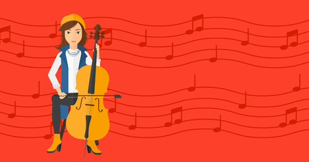 soloist: A woman playing cello on a red background with music notes vector flat design illustration. Horizontal layout.