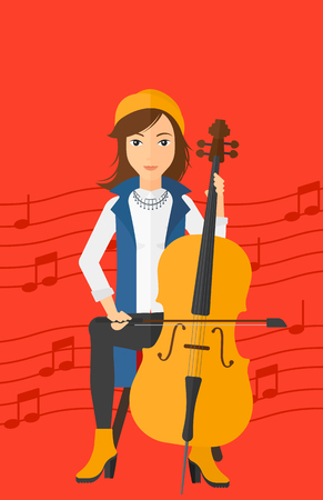 soloist: A woman playing cello on a red background with music notes vector flat design illustration. Vertical layout. Illustration