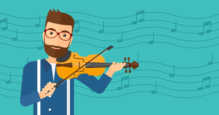 soloist: A hipster man with the beard  playing violin on a blue background with music notes vector flat design illustration. Horizontal layout.