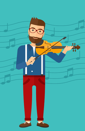 fiddlestick: A hipster man with the beard  playing violin on a blue background with music notes vector flat design illustration. Vertical layout.