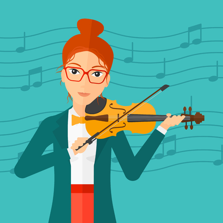 A woman  playing violin on a blue background with music notes vector flat design illustration. Square layout.