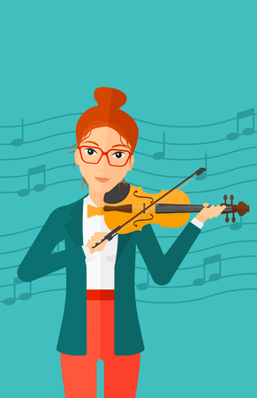 soloist: A woman  playing violin on a blue background with music notes vector flat design illustration. Vertical layout.