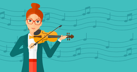 cellist: A woman  playing violin on a blue background with music notes vector flat design illustration. Horizontal layout.