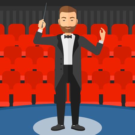 コンサート ホール ベクトル フラット デザイン イラストの背景に彼のバトンとひげ監督と流行に敏感な人。正方形のレイアウト。  イラスト・ベクター素材