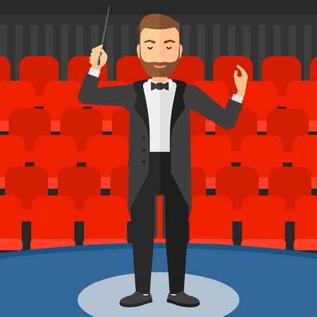 An hipster man with the beard directing with his baton on the background of concert hall vector flat design illustration. Square layout. Stock Illustratie