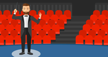 An hipster man with the beard directing with his baton on the background of concert hall vector flat design illustration. Horizontal layout.