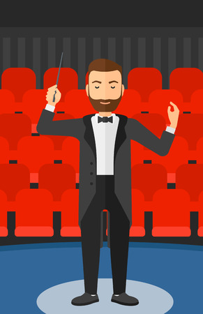 conducting: An hipster man with the beard directing with his baton on the background of concert hall vector flat design illustration. Vertical layout.