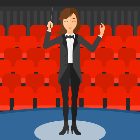 maestro: An orchestra conductor directing with her baton on the background of concert hall vector flat design illustration. Square layout. Illustration