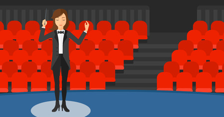 An orchestra conductor directing with her baton on the background of concert hall vector flat design illustration. Horizontal layout.