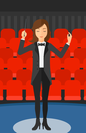 concert hall: An orchestra conductor directing with her baton on the background of concert hall vector flat design illustration. Vertical layout.