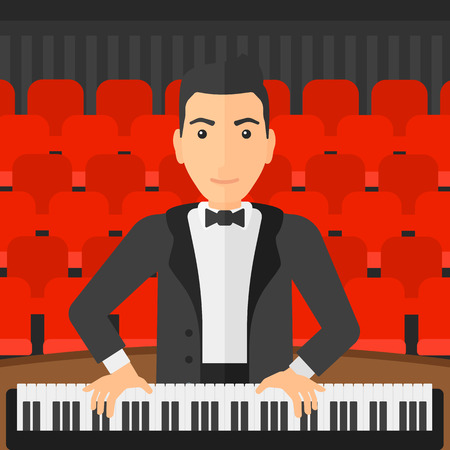 pianoforte: A musician playing piano on the background of concert hall vector flat design illustration. Square layout.