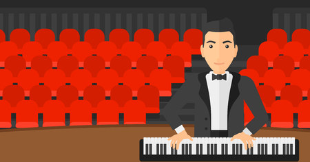 pianoforte: A musician playing piano on the background of concert hall vector flat design illustration. Horizontal layout.