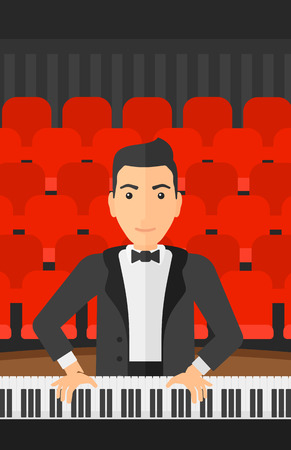 concert hall: A musician playing piano on the background of concert hall vector flat design illustration. Vertical layout.
