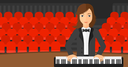 concert hall: A musician playing piano on the background of concert hall vector flat design illustration. Horizontal layout.