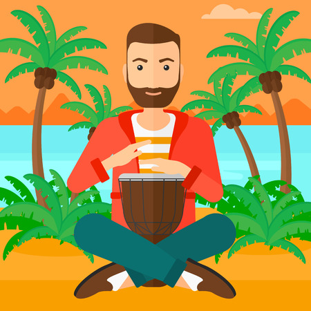 tam: A hipster man with the beard playing tomtom on the background of tropical beach with palm trees and the sea vector flat design illustration. Square layout. Illustration