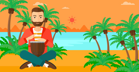 A hipster man with the beard playing tomtom on the background of tropical beach with palm trees and the sea vector flat design illustration. Horizontal layout. Иллюстрация