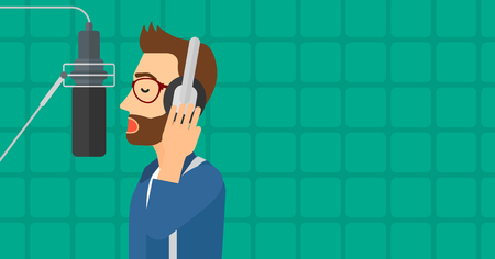 cartoon singing: A hipster man in headphones making a record of her voice in studio vector flat design illustration. Horizontal layout.