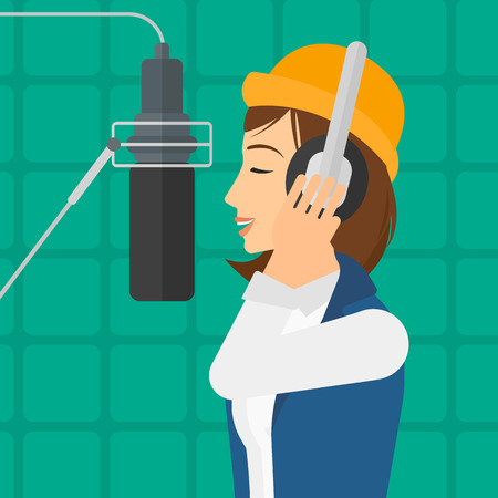 A singer in headphones making a record of her voice in studio vector flat design illustration. Square layout.