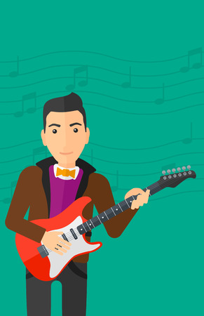 fret: A man playing electric guitar on a light green background with music notes vector flat design illustration. Vertical layout.