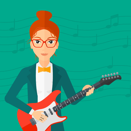 strum: A smiling woman playing electric guitar on a light green background with music notes vector flat design illustration. Square layout.