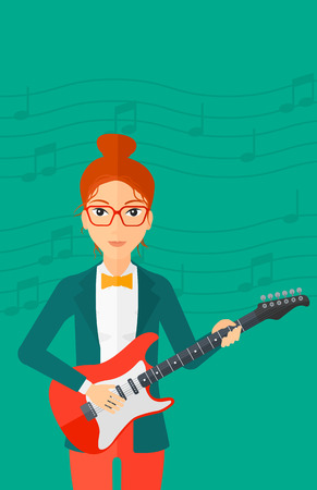 fret: A smiling woman playing electric guitar on a light green background with music notes vector flat design illustration. Vertical layout. Illustration