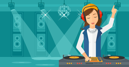 A DJ in eadphones with hand up playing music on turntable on the background of night club vector flat design illustration. Horizontal layout. Illustration
