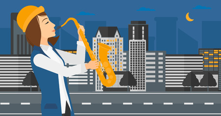 soloist: A musician playing saxophone on a night city background vector flat design illustration. Horizontal layout.