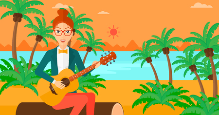lanscape: A happy woman sitting on a log and playing a guitar on the background of tropical beach with palm trees and the sea vector flat design illustration. Square layout.