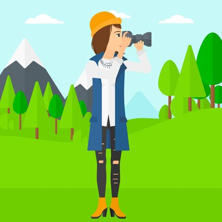 taking photo: A woman taking photo on the background of green forest and mountains vector flat design illustration. Square layout.