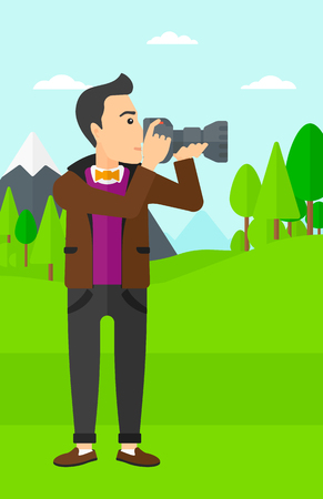 taking photo: A man taking photo on the background of green forest and mountains vector flat design illustration. Vertical layout.