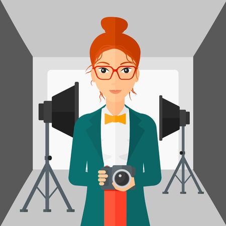 lighting equipment: A woman holding a camera on the background of photo studio with lighting equipment vector flat design illustration. Square layout.