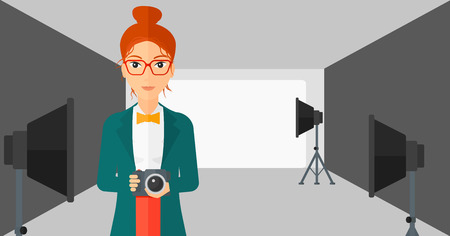 lighting equipment: A woman holding a camera on the background of photo studio with lighting equipment vector flat design illustration. Horizontal layout. Illustration