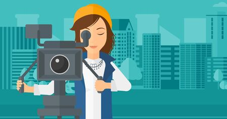 cinematographer: A camerawoman looking through movie camera on a city background vector flat design illustration. Horizontal layout.