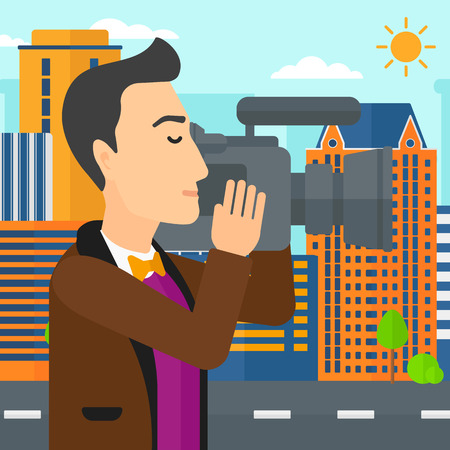 cinematographer: A cameraman with video camera taking a video on a city background vector flat design illustration. Square layout. Illustration