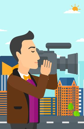 cinematographer: A cameraman with video camera taking a video on a city background vector flat design illustration. Vertical layout.