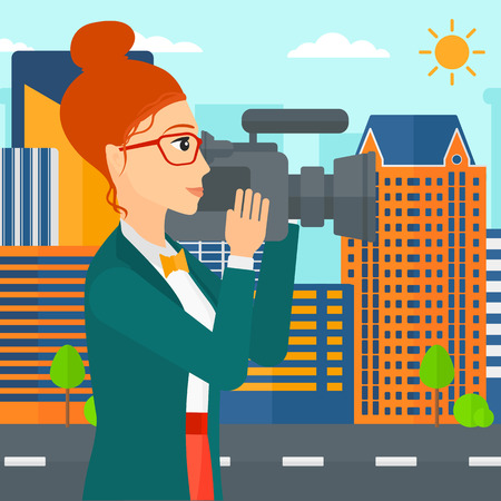 A camerawoman with video camera taking a video on a city background vector flat design illustration. Square layout.