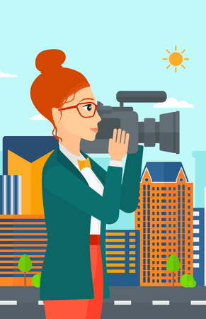 cinematographer: A camerawoman with video camera taking a video on a city background vector flat design illustration. Vertical layout.