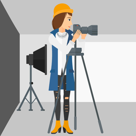 lighting equipment: A photographer working with camera on the background of photo studio with lighting equipment vector flat design illustration. Square layout.