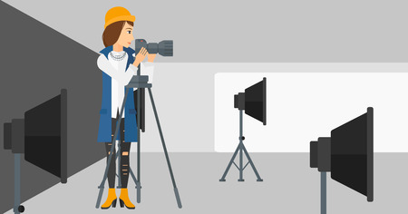 lighting equipment: A photographer working with camera on the background of photo studio with lighting equipment vector flat design illustration. Horizontal layout.