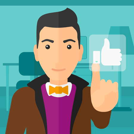 like button: A man pressing like button on the background of apartment vector flat design illustration. Square layout. Illustration