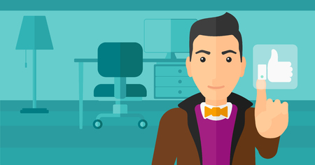 pressing: A man pressing like button on the background of apartment vector flat design illustration. Horizontal layout.