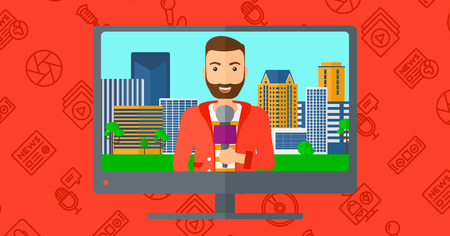 red beard: Television set broadcasting the news with a hipster reporter with the beard vector flat design illustration isolated on red background with media icons. Horizontal layout. Illustration