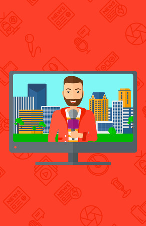 interviewer: Television set broadcasting the news with a hipster reporter with the beard vector flat design illustration isolated on red background with media icons. Vertical layout.