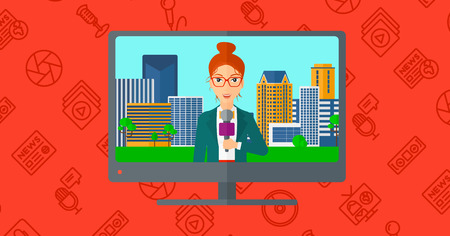 announcer: Television set broadcasting the news with a reporter vector flat design illustration isolated on red background with media icons. Horizontal layout.