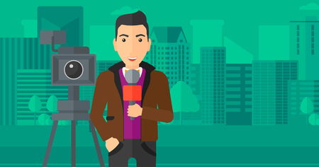 filming: A camera filming and a reporter standing with a microphone on a city background vector flat design illustration. Horizontal layout.